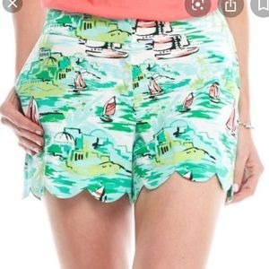 Crown & ivy boat print scalloped shorts